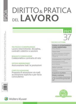 Diritto e Pratica del Lavoro – 25 Settembre 2021