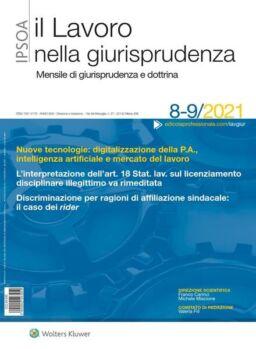 Il lavoro nella giurisprudenza – Agosto-Settembre 2021